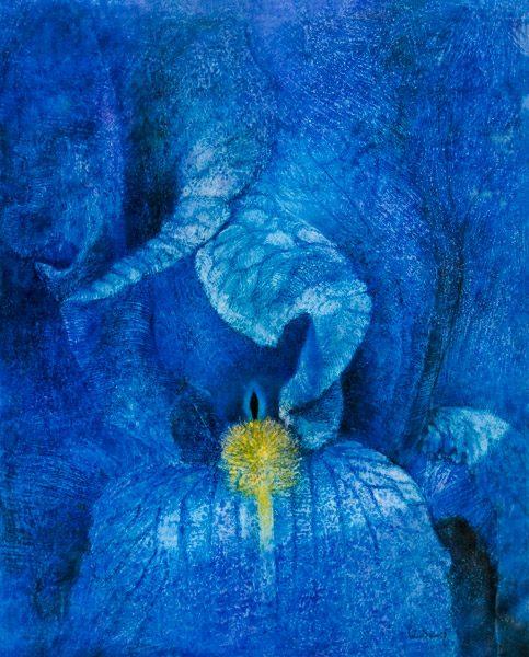 """LEBADANG, """"Orchidée Bleue"""", 1977, huile sur toile. Collection Myshu Lebadang. Droits réservés. Photo : Luc HO."""